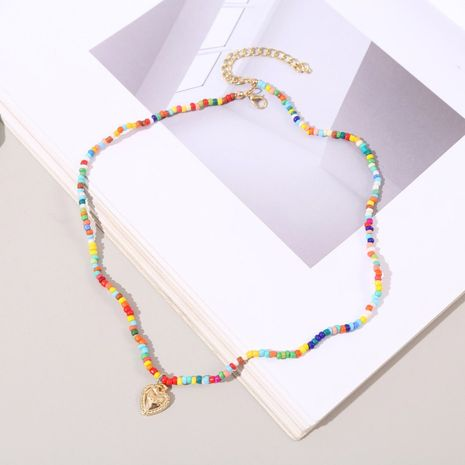 Bohemian hand-woven rice beads love necklace color beaded pendant jewelry NHLA246178's discount tags