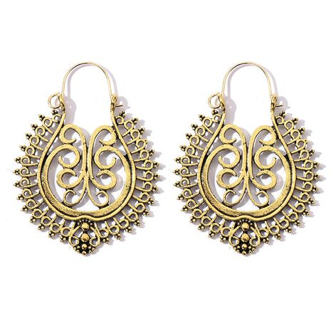 retro exaggerated bohemian metal alloy hollow carved round earrings wholesale nihaojewelry NHGY246181's discount tags