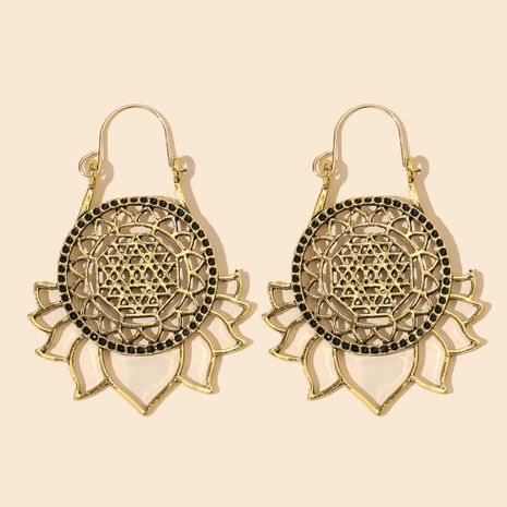 new ethnic style retro hollow lotus sunflower bohemian carved earrings wholesale nihaojewelry NHGY246182's discount tags