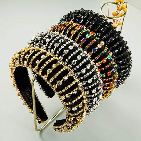 Diamante completo engrosado antideslizante horquilla esponja diamantes de imitación diadema ancha para mujer venta al por mayor nihaojewelry NHLN246185's discount tags