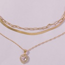 fashion simple multilayer diamond loveshaped alloy womens pendant necklace chain neck wholesale NHMD246189