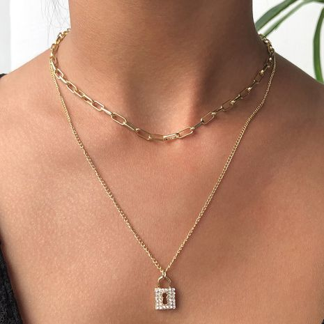 Hot Selling Fashion Diamond Double-layer Pendant Clavicle Chain alloy Necklace for women Wholesale NHMD246192's discount tags