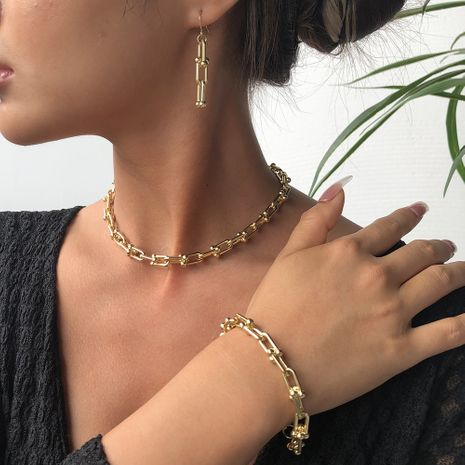 Fashion alloy simple earrings bracelet necklace three-piece set for women NHMD246193's discount tags