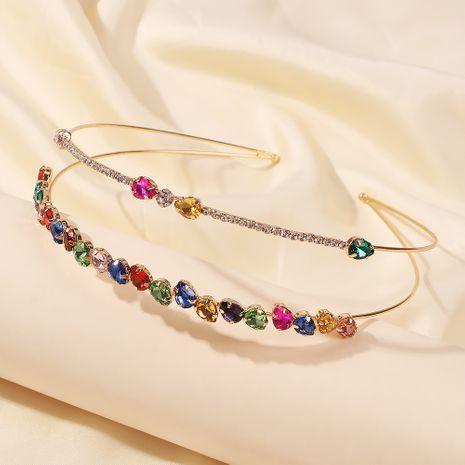 Venta caliente de doble capa de color diamante banda para el cabello paquete de accesorios para el cabello de diamantes de cristal al por mayor NHMD246194's discount tags