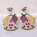 Fashion full diamond watermelon wild alloy womens pendant fruit earrings  NHJJ246210