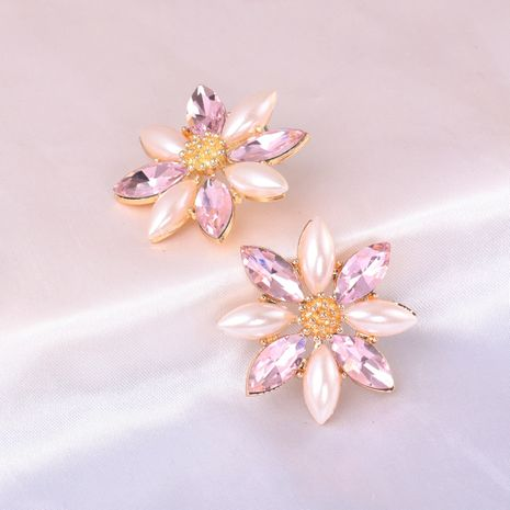 Exaggerated hand-woven pearl flower crystal flower alloy earrings  NHJJ246214's discount tags
