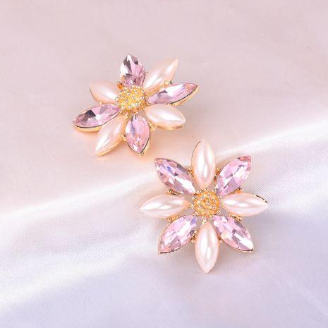 Boucles d'oreilles en alliage de fleur de cristal de perles tissées à la main exagérées NHJJ246214's discount tags