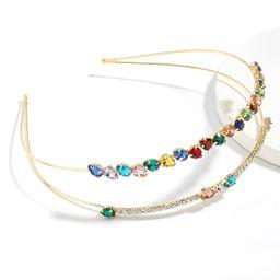 Taladro de color intermitente Aleación creativa Diamante de imitación con incrustaciones de diamantes Diadema de doble capa Venta al por mayor Nihaojewelry NHJE246217