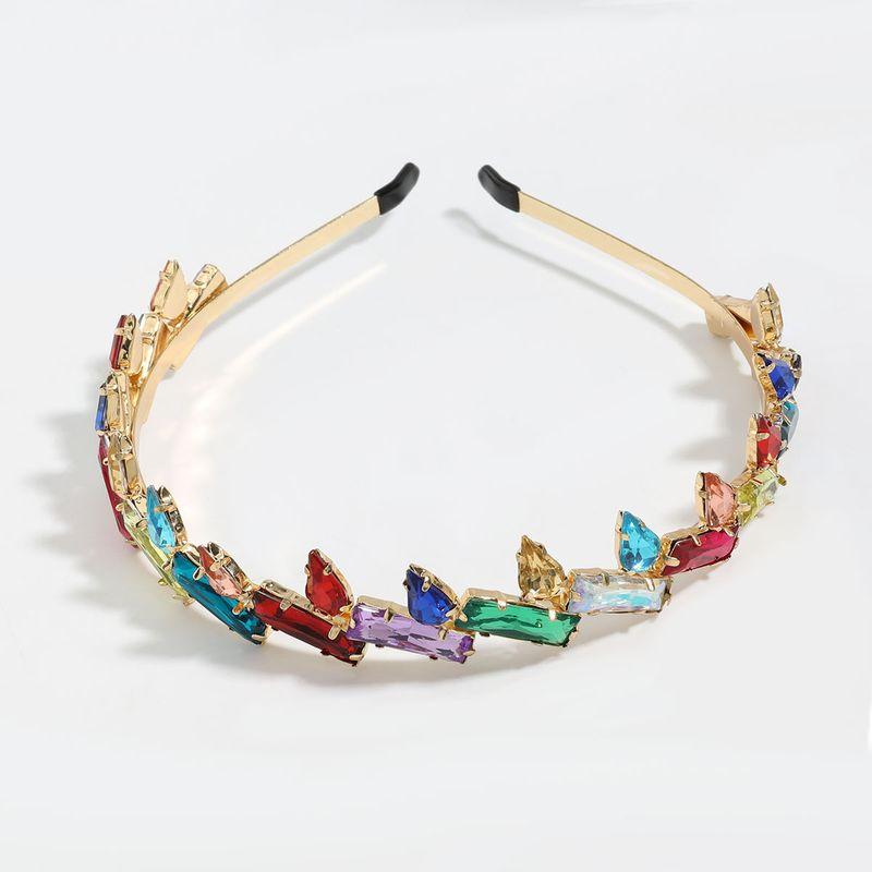 color drill square drop-shaped glass diamond alloy diamond-studded headband wholesale nihaojewelry NHJE246226