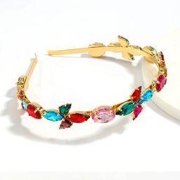 Super brillante color taladro diadema moda aleación diamante cristal diamante flor diadema venta al por mayor nihaojewelry NHJE246227