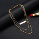 Fashion geometric exaggerated double layer simple thick chain long golden pendant necklace for women NHSD246230