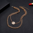 new hotselling simple alloy multilayer set of clavicle chain womens accessories disc pendant necklace NHSD246232