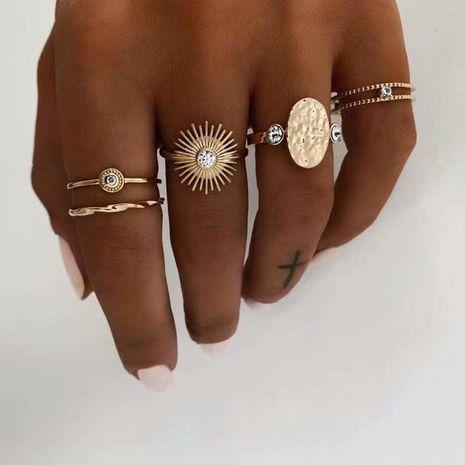 creative retro geometric round diamond ring 5 piece ring set Wholesale nihaojewelry NHSD246234's discount tags