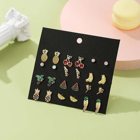 Fashion cute tropical fruit women's dripping 12 pairs of earrings set  NHSD246236's discount tags