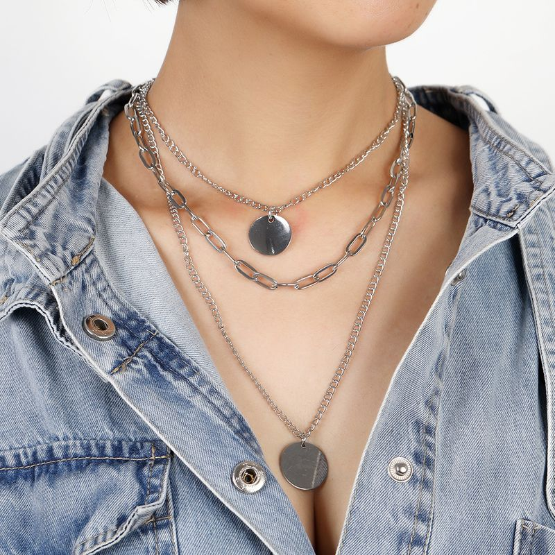 Simple retro threelayer metal disc multilayer long alloy sweater clavicle chain necklace for women NHSD246238