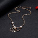 Korean simple fivepointed star fashion pearl alloy pendant necklace long clavicle chain for women NHSD246240