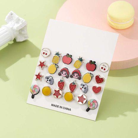 Nouvel été mignon fruits drôle amusant ensemble de boucles d'oreilles coréen doux combinaison NHSD246242's discount tags