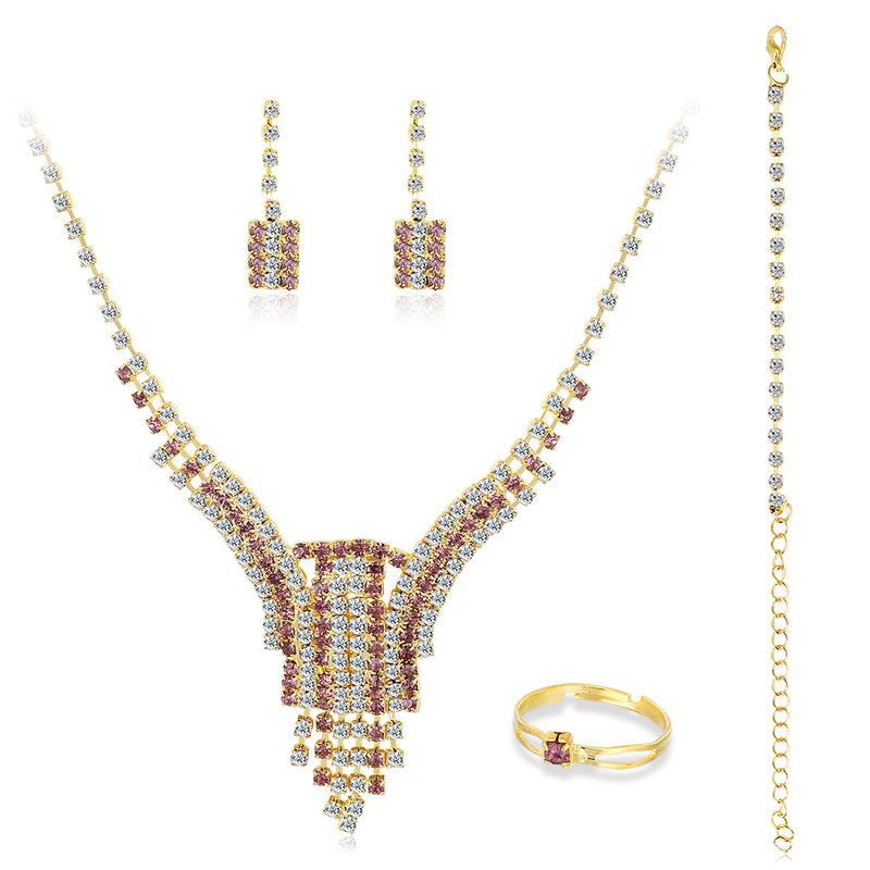 new bridal jewelry fashion alloy necklace earrings threepiece set  NHDR246244