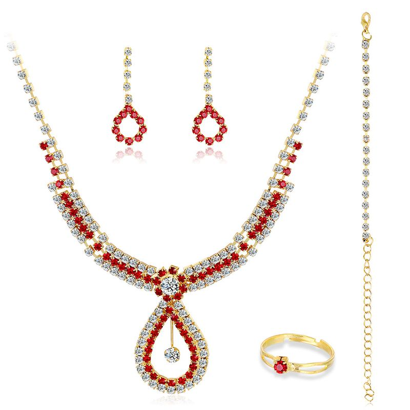 Fashion classic diamond wedding bridal necklace earrings two-piece set wholesale NHDR246245