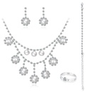 New fashion diamond bridal suit necklace  earrings twopiece set wholesale NHDR246253