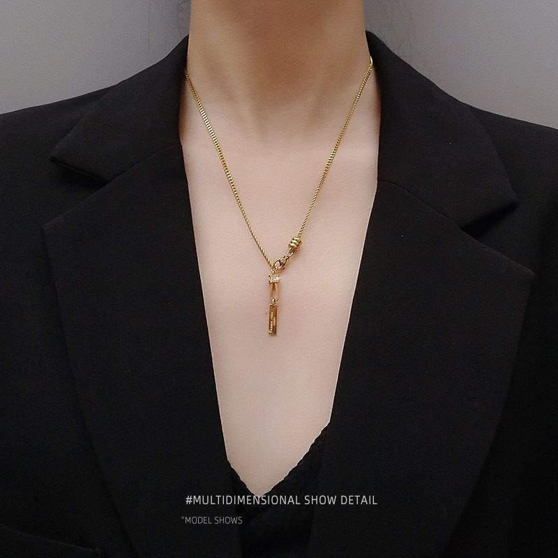 Fashion U-shaped new accessories diamond long brand titanium steel clavicle necklace  NHOK246274