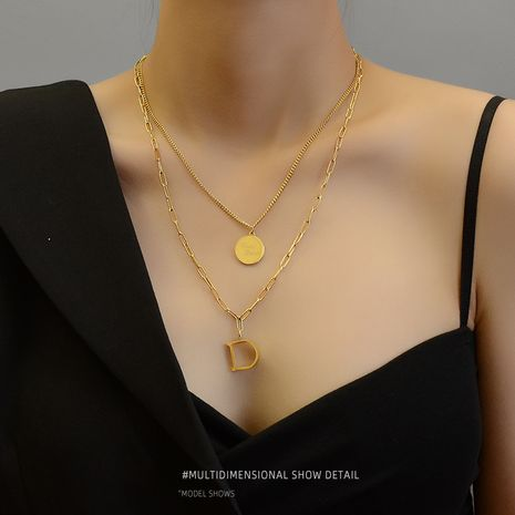 Fashion double-layer good lucky letter D gold plated without fading clavicle necklace NHOK246294's discount tags