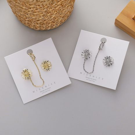 New daisy Korean sweet ladies niche 925 silver needle alloy ear clips  NHMS246299's discount tags
