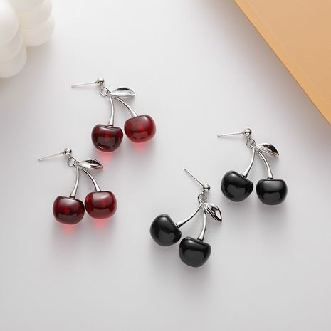 New fashion black cherry sweet style fun cute fruit earrings wholesale nihaojewelry NHMS246302's discount tags