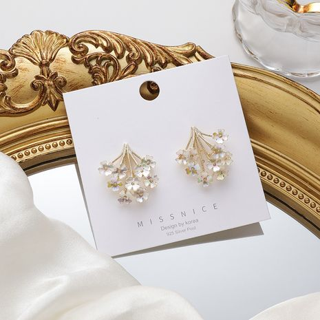 New Retro Shell Short Korean Bouquet small Flower 925 Silver Needle alloy Earrings NHMS246305's discount tags