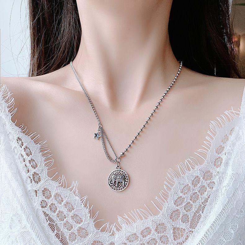 New autumn retro hip hop elephant simple trend sweater chain short alloy necklace for women NHMS246307