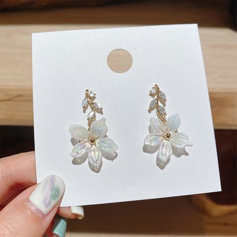 Korea fairy exquisite rhinestone texture shell flower ladies 925 silver needle alloy earrings NHXI246345's discount tags