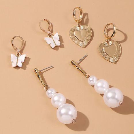 Female pearl earrings small sweet butterfly love ear buckle NHMD246369's discount tags