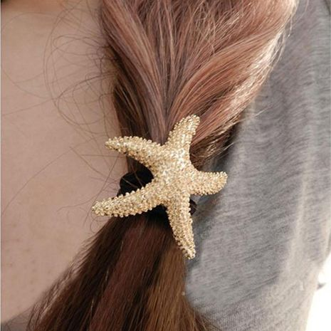 Korean gold starfish metal texture ocean style head rope hair accessories NHDP246020's discount tags