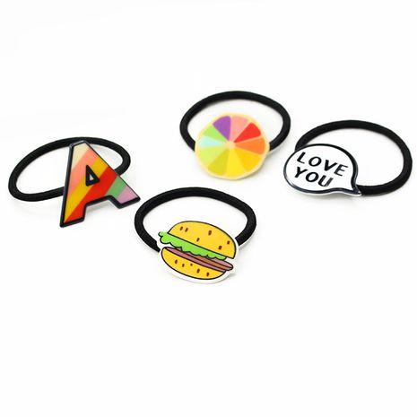 Nouveau dessin animé coréen lettre fruit bande de caoutchouc petite tête de boule corde en gros nihaojewelry NHDP246024's discount tags