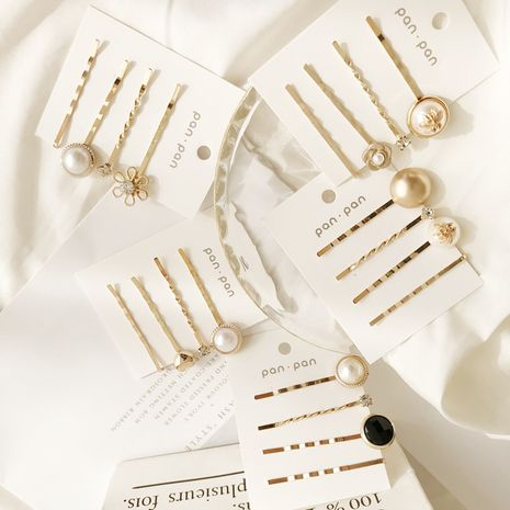 Korea pearl four-piece one-word clip trend side clip fashion popular Wholesale nihaojewelry NHDP246027's discount tags