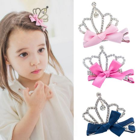 Korean fashion children's diamond princess crown hairpin side clip wholesale NHDP246033's discount tags
