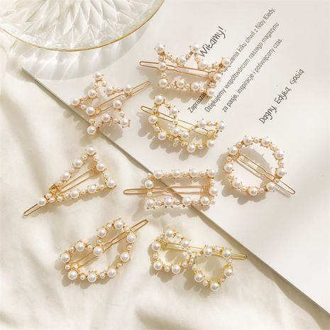 Korean new hot sale sweet  trend geometric pearl duckbill clip side clip Wholesale nihaojewelry NHDP246034's discount tags