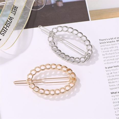 metal chain oval hairpin hollow bangs clip geometric side clip Wholesale nihaojewelry NHDP246037's discount tags