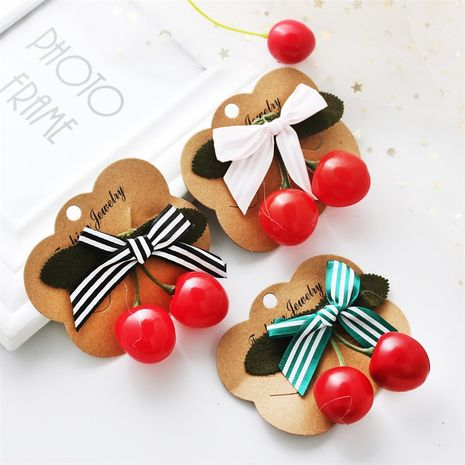 Korean Wholesale Cute Red Cherry Bow Duckbill Polka Dot Lady Hairpin NHDP246038's discount tags