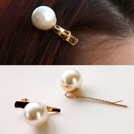 Sweet big pearl hairpin one word side clip Korean new headwear Wholesale nihaojewelry NHDP246045's discount tags