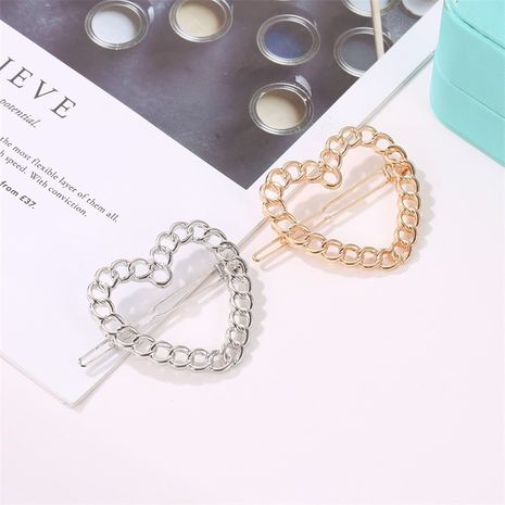 metal chain hairpin word clip hollow bangs clip Wholesale nihaojewelry NHDP246046's discount tags