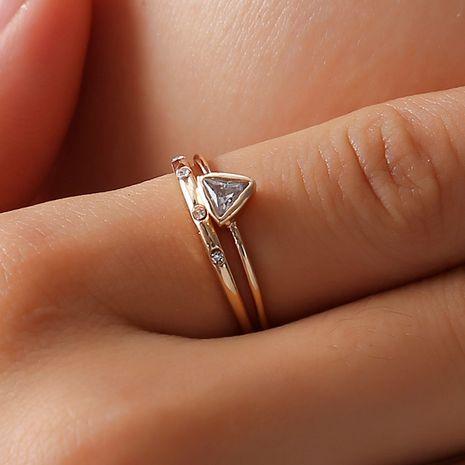Vente chaude géométrique incrusté zircon index doigt joint combinaison bague 2 pièces ensemble bague en gros nihaojewelry NHDP246055's discount tags