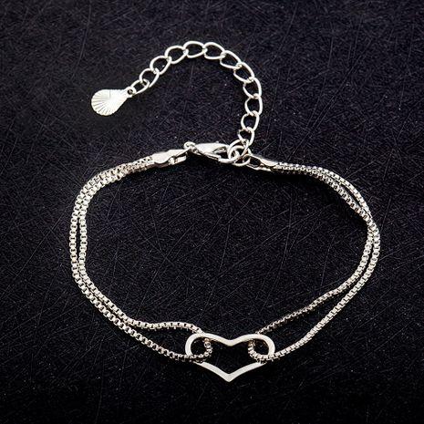 Bracelet en alliage fin coréen élégant simple et doux double amour sauvage pour les femmes en gros NHDP246065's discount tags