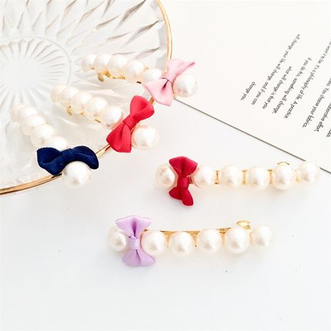 Korean bow pearl simple headdress hot-saling hair accessories one word clip NHDP246070's discount tags