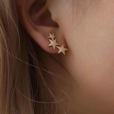 Fashion frosted three-star five-pointed star alloy no pierced ear clip earrings  NHDP246077's discount tags