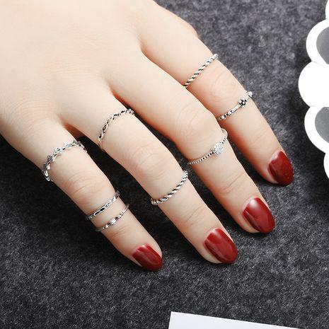retro alloy  eight-piece suit fashion diamond twist ring  wholesale NHDP246079's discount tags
