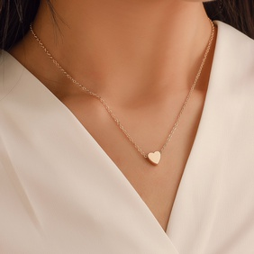 Korea peach heart mini love glossy three-dimensional pendant love clavicle chain for women   NHDP246085