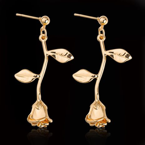 New Wild Flowers Leaves Hollow Rose alloy Pendant Earrings gift For Girlfriend   NHDP246095's discount tags