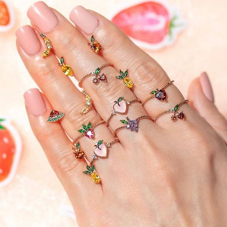 New cute fruit  fun grape apple  ring Wholesale nihaojewelry NHDP246101's discount tags