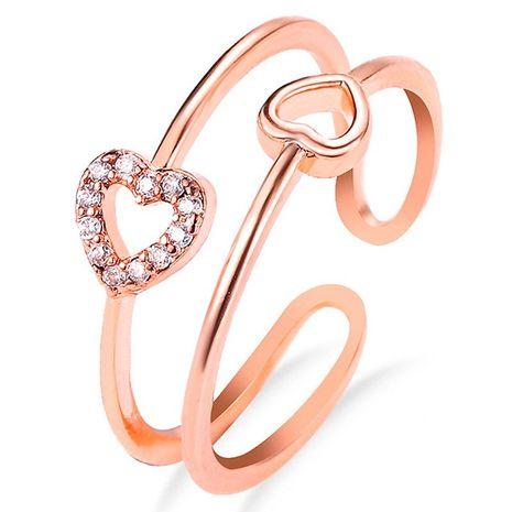 nouvelle bague en zircon d'amour de mode simple bague ouverte creuse en gros nihaojewelry NHDP246086's discount tags